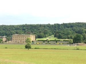 The approach to Chatsworth from across the valley